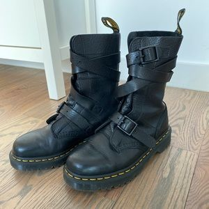 Dr. Martens Bevan Black Strappy Ankle Leather boot